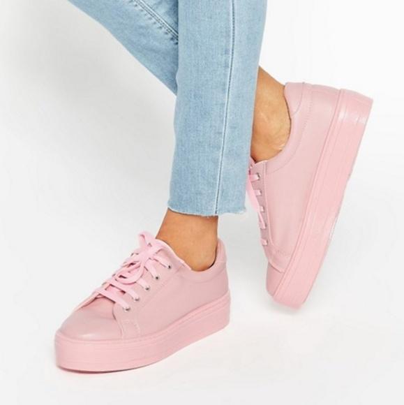 ASOS Shoes | Pink Flatform Sneakers